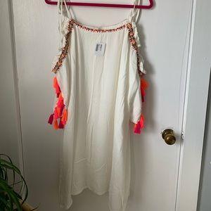 NWT Freeway White Embroidered Tassel Trim Dress S